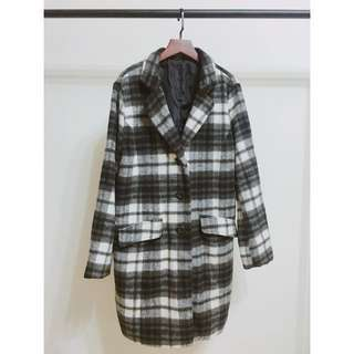 [二手]黑白格紋大衣