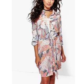 Printed Shirt Dress with sash - size 8 - BRAND NEW WITH TAGS