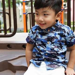 CNY Blue Camo Mandarin Collar Shirt (1 - 6Y)