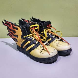 RARE Adidas Originals Jeremy Scott Kids Flames UK 8K @ US 8 1/2K