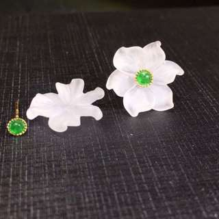 兩用款祖母綠花朵耳釘 Two style emerald earring with crystal