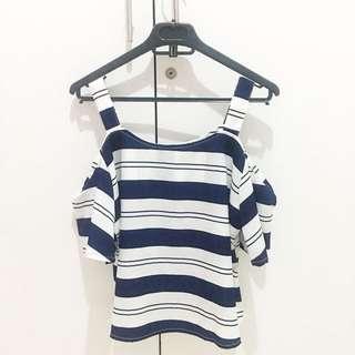 Blue Stripe White Sabrina Top
