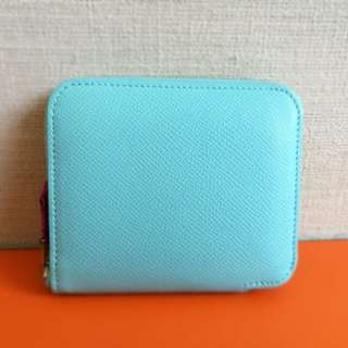 Hermes Blue Atoll Epsom Silk In Compact Wallet