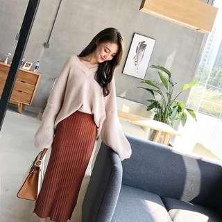 🚚 自留推薦✨超美氣質韓版v領毛衣+針織長裙套裝