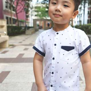 CNY Nautical Mandarin Collar Shirt (White) (9- 48M)