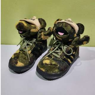 RARE Adidas Originals Jeremy Scott Kids Camo Bear UK 7K @ US 7 1/2K