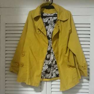 Canary Yellow Blazer with Printed Lining