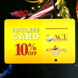 Ace Water Spa and Ace Coffee Lounge Privilege Card