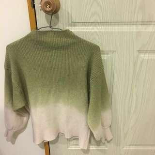 清新系立領綠杏毛衣