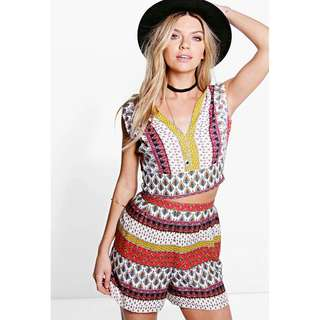Bohemian 2 piece matching top and shorts set - size 8 - BRAND NEW WITH TAGS