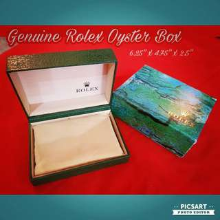 Genuine ROLEX Oyster Watch Box with a cushion inside, no watch holder. Good and clean condition and so is the external paper box. $88 offer! sms 96337309.