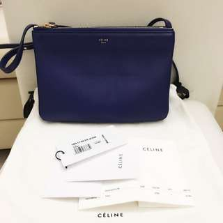 💯 Real Celine Trio Small Size Indigo Crossbody bag