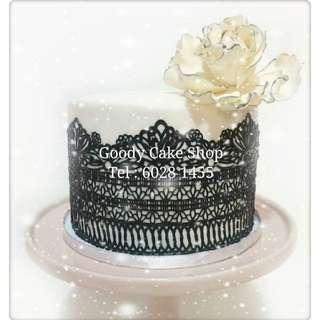 黑色lace花花蛋糕