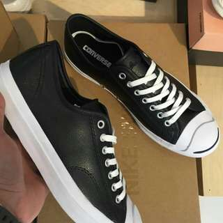 "SEPATU CONVERSE JACK PURCELL LEATHER LOW TOP ""BLACK WHITE"""