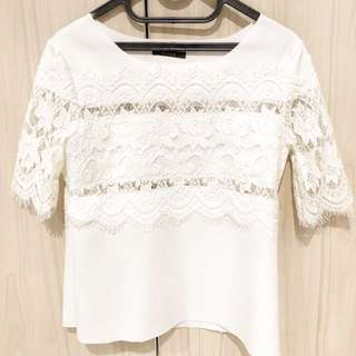 (Preloved) Lace top in white
