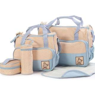 5-in-1 Mummy Bag⭐️diaper Bag️️- Diaper Changing Kit- Mommy Bag- Parents Bag- Bottle Warmer, Shoulder Bag (Big Bag+ Small Bag+ Bottle Warmer+ Diaper Changing Mat+lunch Box carrier)