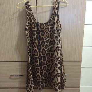 豹紋背心洋裝