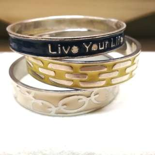 Live Your Life Enamel Bangles (Set of 3)