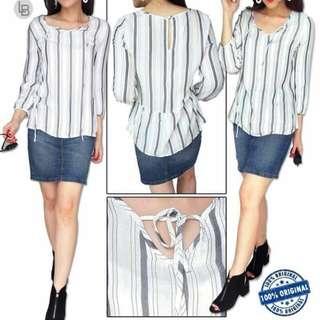Grey Striped Cotton Tie Front Blouse