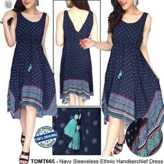 TomTailor  Navy Sleeveless Ethnic Handkerchief Dress