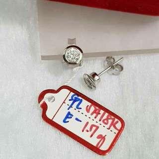 Saudi White Gold Earrings 18K