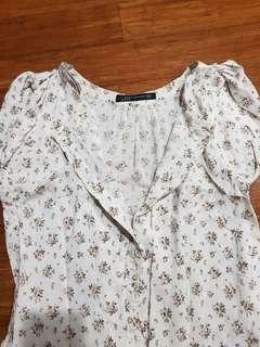 Zara white floral button down dress