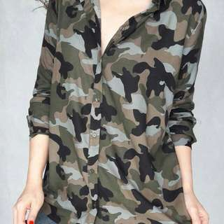 H&M Camo Patterned Cotton Shirt bhn viscose Original bagus Ready army