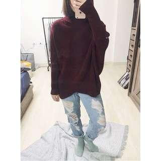 [二手]酒紅色高領毛衣