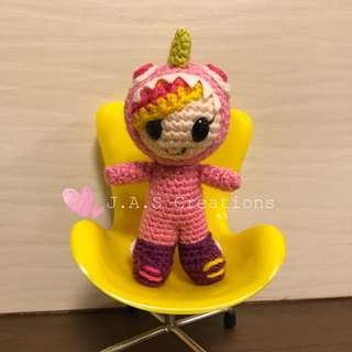 Crochet Kaiju Girl Doll (Pink)