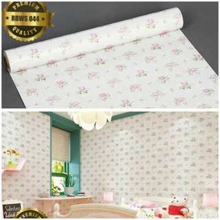 Wallpaper sticker putih bunga pink 044
