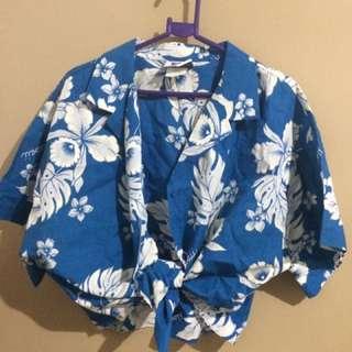 Hawaiian Style Blue Top