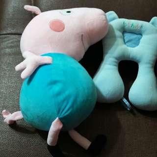 喬治玩偶+兒童靠頸枕頭