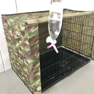 Dog cage whole set (cover + water bottle)