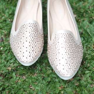 New flatshoes sepatu balet wanita blink blink Gold