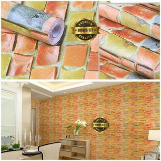 Wallpaper sticker batu alam orange 177