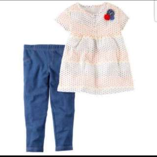*24M* BN Carter's 2-Piece Babydoll Top & Denim Legging Set For Baby Girl