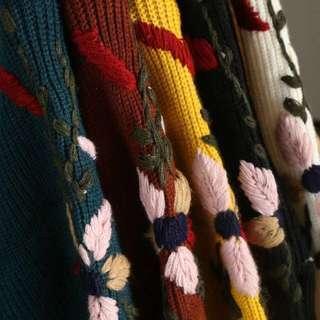 🚚 OshareGirl 01 百搭純色針織花毛衣針織上衣