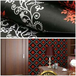 Wallpaper sticker hitam batik merah putih