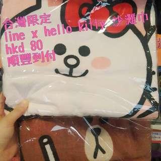 Line x hello kitty 沙灘巾 大毛巾 台灣