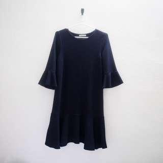 Zara Navy Blue Ruffle Dress