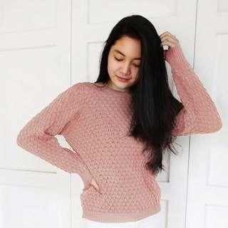 Roundhand Popcorn Dusty Pink Sweater Rajut Wanita