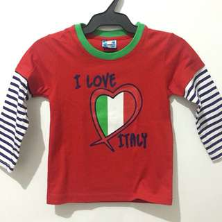 Red I Love Italy Longsleeve