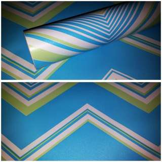 Wallpaper sticker garis zigzag biru hijau putih