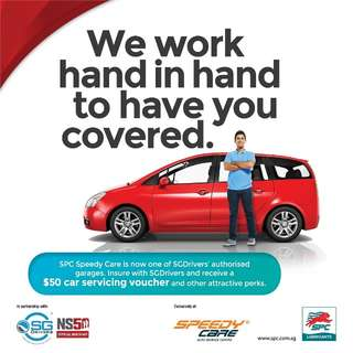 🌟Insure With SGDrivers! Enjoy SPC Speedy Care $50 Servicing Discount!🌟