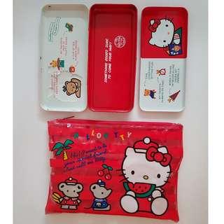 Vintage Hello Kitty Metal Pencil Case - 1976 London, England (1988) + Pencil Case Bag (1990)