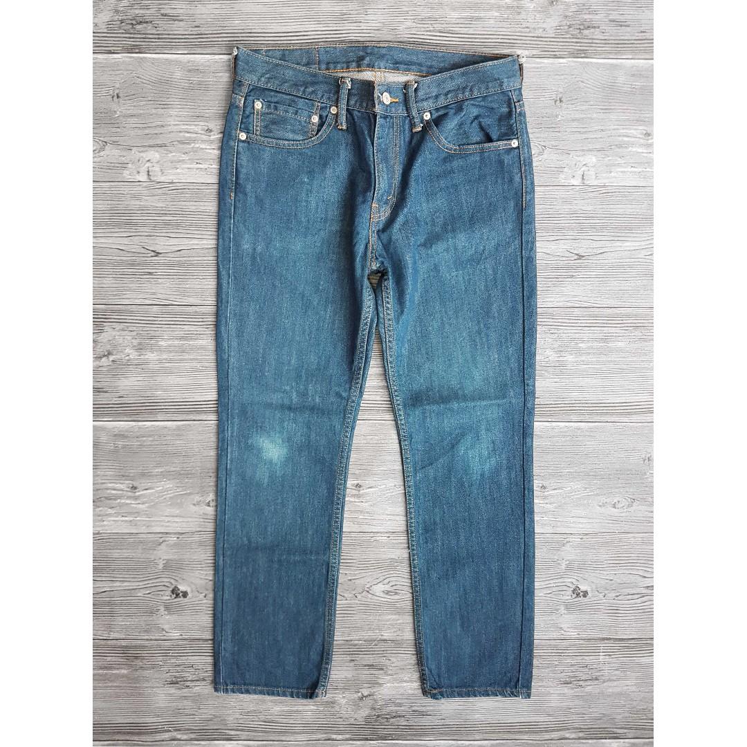 32腰 Levis 511 丹寧原色藍 自然色落 修身窄管 牛仔褲 二手 休閒 長褲 古著
