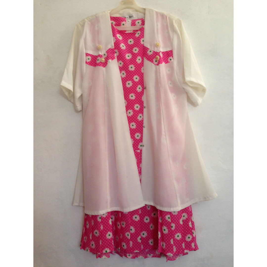 3pcs Pink Flowery Dress + Outer + Belt
