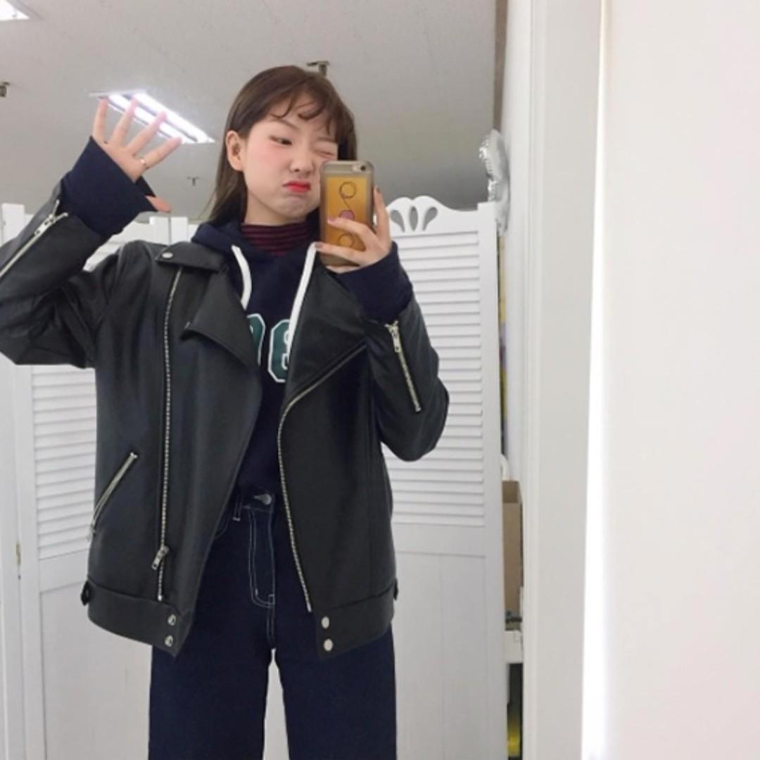 (私)正韓空運906studio韓國製皮衣騎士外套