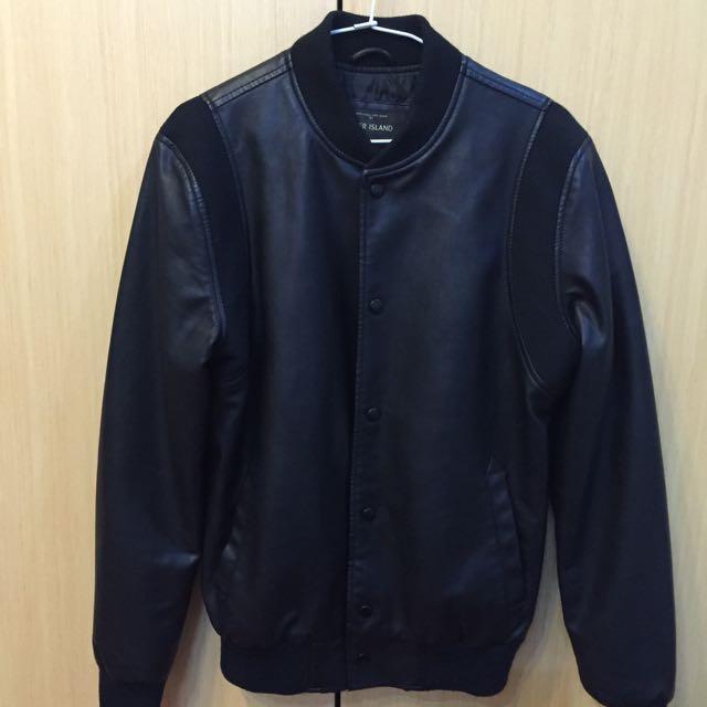 9成新-潮牌皮外套 Black jacket!