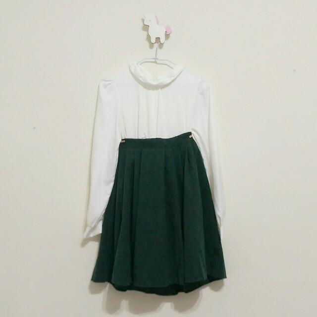墨綠麂皮傘裙圓裙中長裙